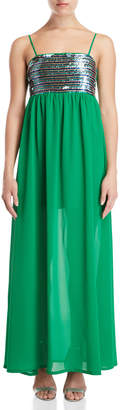 Gaudi' Gaudi Green Sequin Maxi Dress
