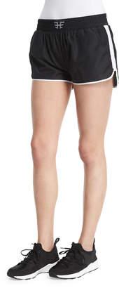 Heroine Sport Logo-Front Mesh Training Shorts W/Stripe, Black/White
