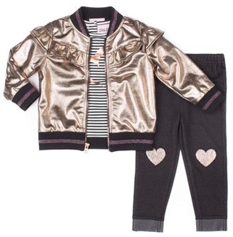 Little Lass Faux Leather Metallic Bomber Jacket, Long Sleeve Top & Knit Denim Jeans, 3pc Outfit Set (Toddler Girls)
