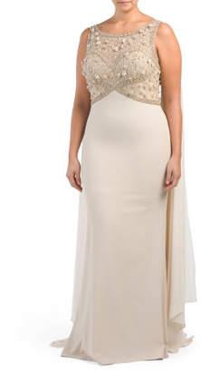 Plus Sleeveless Dress With Cape