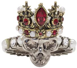 Alexander McQueen Silver Queen Skull Ring $395 thestylecure.com