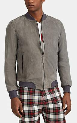 Barneys New York Lot 78 x Men's Suede Bomber Jacket - Light Gray