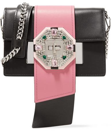 pradaPrada - Ribbon Crystal-embellished Leather Shoulder Bag - Black
