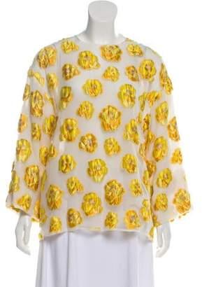 Giambattista Valli Sheer Floral Print Blouse w/ Tags