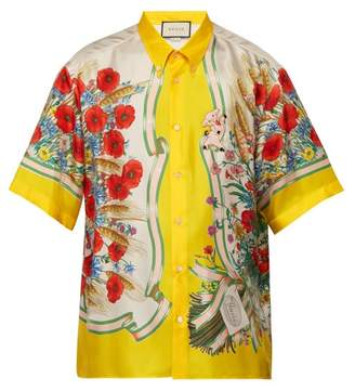 Gucci Floral Print Silk Twill Shirt - Mens - Yellow Multi