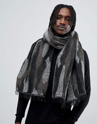 Antony Morato Blanket Scarf In Black With Camo Print