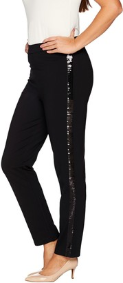 Joan Rivers Classics Collection Joan Rivers Petite Joan's Signature Ankle Pants w/ Sequin Strip