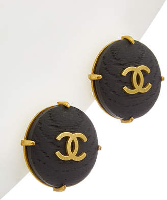 Chanel Gold-Tone & Wood Button Earrings
