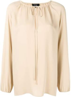 Theory tied neck blouse