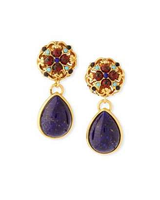 Jose & Maria Barrera Matrix Glass Teardrop Clip-On Earrings
