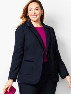 Talbots Velvet-Trim Bi-Stretch Wool Blazer