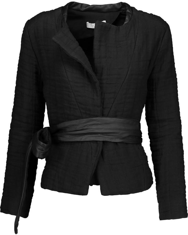 IROIRO Juki leather-trimmed cotton and linen-blend cloqu&eacute jacket
