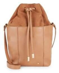 Halston Drawstring Suede & Leather Bucket Bag
