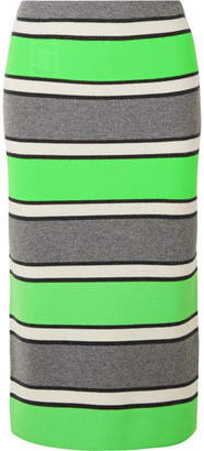 Marc Jacobs Striped Cashmere Midi Skirt - Green