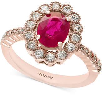 Effy Amoré by Certified Ruby (1-3/8 ct. t.w.) and Diamond (5/8 ct. t.w.) Statement Ring in 14k Rose Gold, Created for Macy's