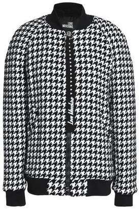 Love Moschino Houndstooth Tweed Bomber Jacket