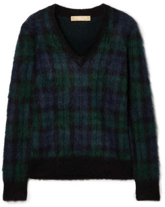 Michael Kors Tartan Mohair-blend Sweater - Navy