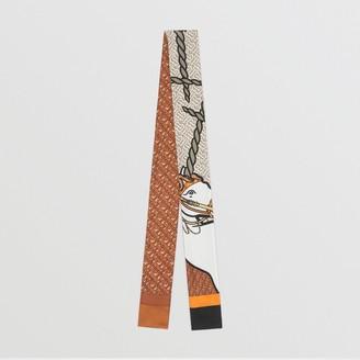 Burberry Unicorn and Monogram Print Silk Skinny Scarf