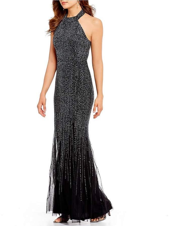 Adrianna Papell Halter Beaded Mermaid Gown