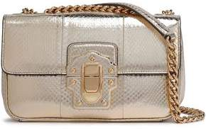 Dolce & Gabbana Lucia Snake-Effect Metallic Leather Shoulder Bag