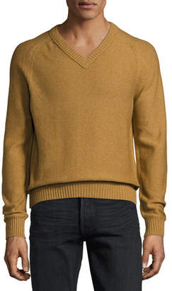 Tom Ford Raglan Cotton-Cashmere Blend V-Neck Sweater, Tobacco