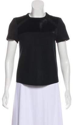 Isabel Marant Wool & Calf Hair Short Sleeve Top