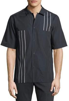 Salvatore Ferragamo Men's Short-Sleeve Bowler Shirt with Vertical Line Details