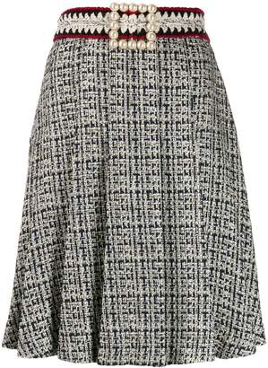 Edward Achour Paris faux-pearl buckle skirt