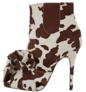 Jean-Michel Cazabat for Sophie Theallet Peep-Toe Ponyhair Ankle Boots