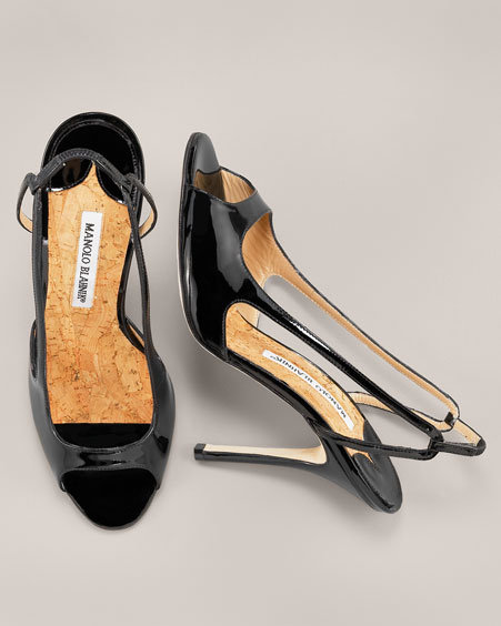 Manolo Blahnik Patent Peep-Toe Slingback, Black