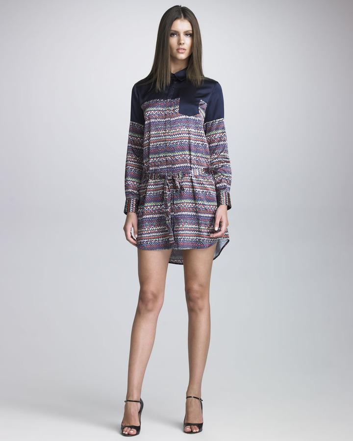 Thakoon Tweed-Printed Shirtdress