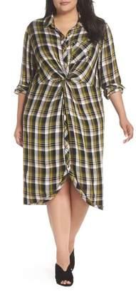 Caslon Knot Front Plaid Shirtdress (Plus Size)