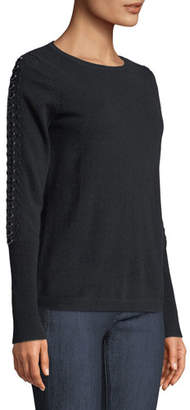 Neiman Marcus Cashmere Ring-Embellished Sleeve Boat-Neck Sweater