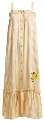 Adriana Degreas - Striped Embroidered Long Dress - Womens - Yellow Stripe