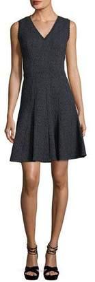 Rebecca Taylor Sleeveless V-Neck Fit-and-Flare Rose Jacquard Dress