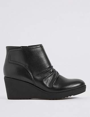Marks and Spencer Leather Wedge Heel Side Zip Ankle Boots