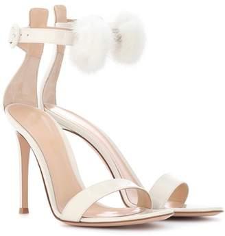 Brigitte fur-trimmed patent leather sandals