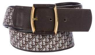 Christian Dior Leather-Trimmed Diorissimo Belt