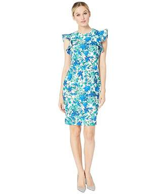 ea7f8a7f Calvin Klein Floral Print Ruffle Arm Sheath Dress