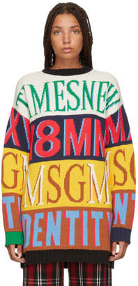 MSGM Multicolor Colorblock Logo Sweater