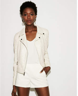 Express Faux leather perforated boxy moto jacket