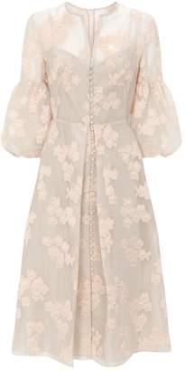 Lela Rose Stripe Floral Dress