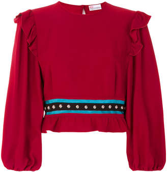 RED Valentino cropped frill detail blouse