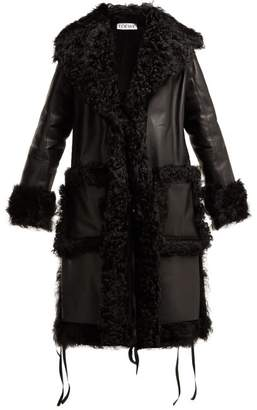 Loewe Shearling Trim Leather Coat - Womens - Black