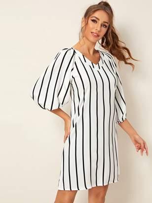 Shein Vertical Striped Bishop Sleeve Tunic Dress