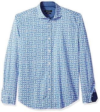 Bugatchi Men's Slim Fit Pin Wheel Print Long Sleeve Point Collar Shirt