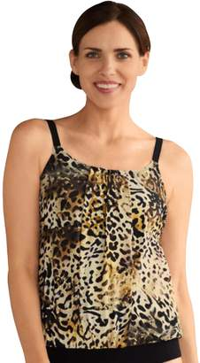 Women's Amoena Nauru Bra-Sized Pleated Leopard Print Tankini Top