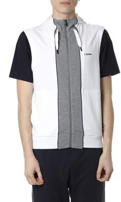 Ermenegildo Zegna White And Gray Cotton Blend Hoodie Vest