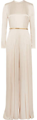 Stella McCartney Belted Pleated Satin Jumpsuit - Ecru