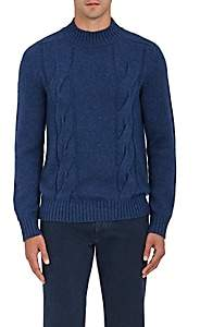 Barneys New York MEN'S CASHMERE MOCK-TURTLENECK SWEATER-BLUE SIZE S